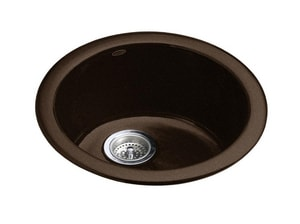 KOHLER Porto Fino™ 18-3/8 x 8-5/8 in. Single Bowl Drop-In Bar Sink No Hole in Black 'n Tan K6565-KA