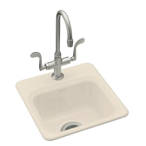 KOHLER Northland™ 15 x 15 in. 1-Hole Self-Rimming Entertainment Sink in Almond K6579-1-47