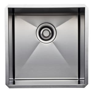 ROHL® Luxury® 16-15/32 x 16-15/32 in. Undermount Stainless Steel Bar Sink in Brushed Stainless Steel RRSS1515SB