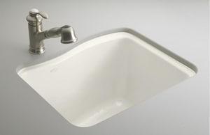 KOHLER River Falls™ 25 x 22 in. Undermount Laundry Sink in Biscuit K6657-4U-96