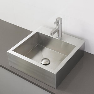 DECOLAV® Simply Stainless™ 1-Bowl Square Vessel with Faucet in Brushed Stainless Steel D12801B