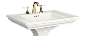 Kohler Memoirs® Stately 3-Hole Bathroom Rectangular Lavatory Sink with 8 in. Faucet Centerset and Center Drain in Cashmere K2269-8-K4