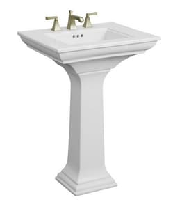 Kohler Memoirs® 3-Hole Pedestal Bathroom Sink with Overflow Drain in Biscuit K2344-8-96