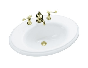 Kohler Revival® 3-Hole Oval Drop-In Bathroom Sink with 4 in. Centerset in White K2950-8-0