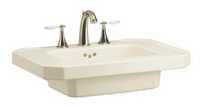 Kohler Kathryn® 3-Hole Wall Mount Lavatory Sink with 8 in. Centerset Faucet  Biscuit K2323-8-96