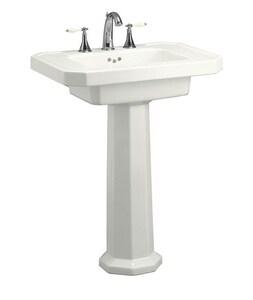 Kohler Kathryn® 3-Hole Bathroom Rectangular Lavatory Sink with 8 in. Faucet Centerset in White K2322-8-0