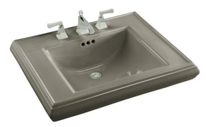 Kohler Memoirs® 3-Hole Bathroom Rectangular Lavatory Sink with 8 in. Faucet Centerset and Center Drain in Cashmere K2259-8-K4