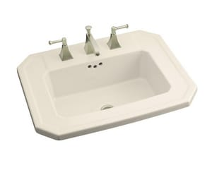 Kohler Kathryn® 24 x 19 in. 3-Hole 1-Bowl Drop-in Vitreous China Rectangular Lavatory Sink with Center Drain in Almond K2325-8-47