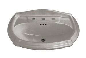 Kohler Portrait® 3-Hole Pedestal Widespread Rectangular Bathroom Sink with 8 in. Faucet Centerset and Center Drain in Cashmere K2222-8-K4