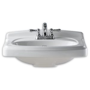 American Standard Portsmouth® Pedestal Mount Vitreous China Lavatory Sink in Linen A0555108222