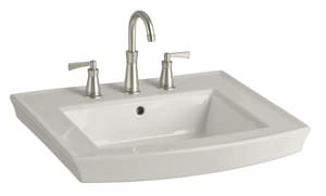 Kohler Archer® 3-Hole Pedestal Bathroom Sink Basin with Overflow Drain in Ice Grey K2358-8-95
