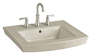 Kohler Archer® 3-Hole Pedestal Bathroom Sink Basin with Overflow Drain in Sandbar K2358-8-G9
