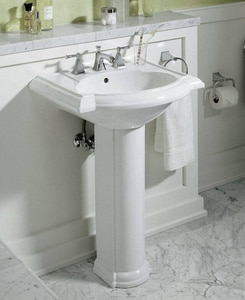 Kohler Devonshire® 3-Hole Bathroom Oval Lavatory Sink with 8 in. Faucet Centerset and Rear Drain in White K2286-8