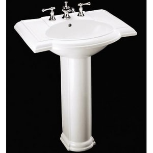 Kohler Devonshire® 3-Hole Bathroom Oval Lavatory Sink with 8 in. Faucet Centerset in White K2294-8-0