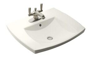 Kohler Kelston® 24 x 21 in. Drop-In Lavatory Sink with 4 in. Centerset Faucet Holes in Biscuit K2381-4-96