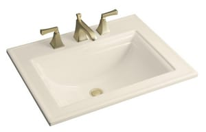 Kohler Memoirs® 3-Hole Rectangular Drop-In Lavatory Sink with 4 in. Centerset in Almond K2337-4-47