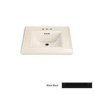 Kohler Memoirs® 24 x 19-3/4 in. 1 Hole 1-Bowl Pedestal Mount Fireclay Rectangular Bathroom Sink in Black Black™ K2239-1-7
