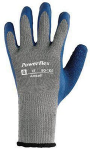 Ansell Occupational Healthcare Powerflex Size 10 Natural Rubber Gloves in Blue and Grey ANS103500
