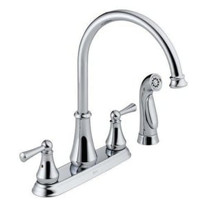 Delta Faucet Lewiston® 4-Hole Kitchen Faucet with Double Lever Handle and Spray D21902LF
