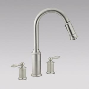 Moen Aberdeen™ 3-Hole High Arc Kitchen Faucet with Double ...