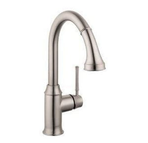 Hansgrohe Talis® S 1-Hole Pull-Down High Arc Kitchen Faucet in Steel Optik H04215801