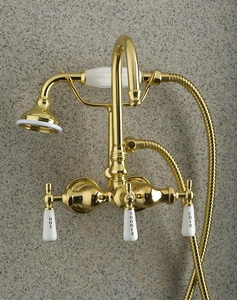 Barclay Products Limited Tub Filler and Diverter Faucet with Double Lever Handle in Polished Chrome B4022PLCP