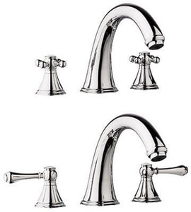 GROHE® Geneva™ Two Handle Roman Tub Faucet in Sterling Infinity G25054BE0