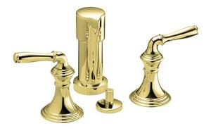 Kohler Devonshire® Double Lever Handle Vertical Spray Bidet Faucet in Vibrant Polished Brass K412-4-PB