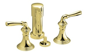 devonshire double lever handle vertical spray bidet faucet in vibrant polished brass