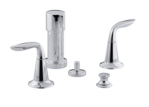 KOHLER Refinia® Double Lever Handle Widespread Bidet Faucet with Vacuum Breaker in Polished Chrome K5329-4-CP