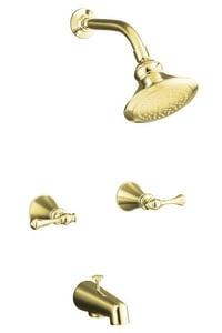 KOHLER Revival® Two Handle Single Function Bathtub & Shower Faucet in Vibrant® Polished Brass (Trim Only) K16213-4A-PB