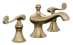 Kohler Revival® Two Handle Widespread Bathroom Sink Faucet in Vibrant Brushed Bronze K16102-4-BV