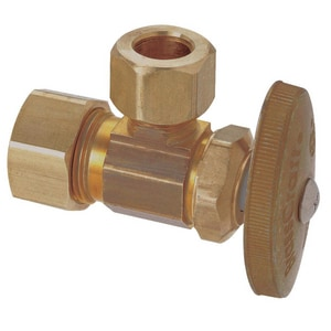 Brass Craft OCR39 Series 1/2 in Oval Handle Angle Supply Stop Valve in Rough Brass BOCR39XR