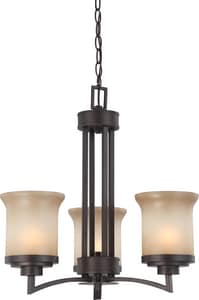 Nuvo Lighting Harmony 60W 3-Light Medium Incandescent Chandelier with Saffron Glass in Dark Chocolate Bronze N604124