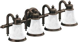 Moen Waterhill™ 4-Light Medium Base Globe Bath Vanity in Brushed Nickel MYB9864BN