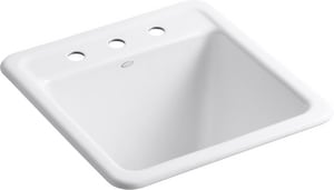 Kohler Park Falls™ 21 x 22 in. Top Mount and Undermount Laundry Sink in White K19022-3-0