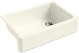 KOHLER Whitehaven® 32-11/16 x 21-9/16 in. No Hole Cast Iron Single Bowl Undermount Kitchen Sink in Biscuit K5827-96