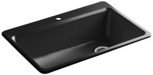 KOHLER Riverby® 33 x 22 in. 1 Hole Cast Iron Single Bowl Drop-in Kitchen Sink in Black Black™ K5871-1A2-7