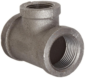 1-1/2 x 1 x 1-1/4 in. Threaded 150# Black Malleable Iron Reducing Tee IBTJGH