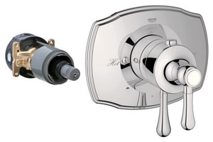 Grohe Grohtherm 2000 Authentic Two Handle Bathtub & Shower Faucet in Sterling Infinity™ (Trim Only) G19825BE0