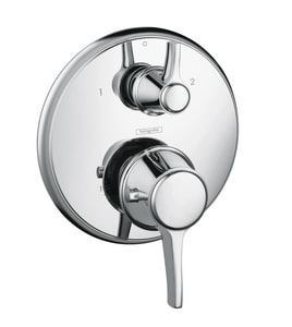 Hansgrohe C 8 gpm Thermostatic Faucet Trim with Double Lever Handle in Polished Chrome H15753001