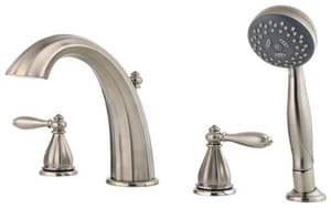 Pfister Portola™ 4-Hole Roman Tub with Hand Shower and Double Lever Handle in Brushed Nickel PRT64RPK