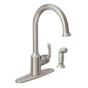 Moen Bayhill 1 5 Gpm Single Lever Handle Kitchen Sink Faucet 3 8 In Compression Connection In Spot Resist Stainless Steel 87301srs Ferguson
