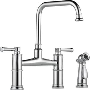 Brizo Artesso™ 1.8 gpm 3 or 4-Hole Kitchen Faucet with Double Lever Handle and Sidespray in Polished Chrome D62525LFPC