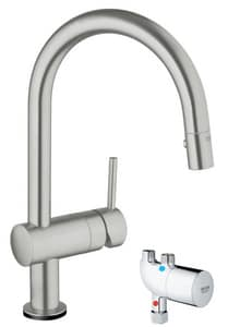 GROHE Minta 1-Hole Pull-Down High Arc Kitchen Faucet with Single Lever Handle and 2-Function Locking Sprayer in SuperSteel Infinity G31392DC0