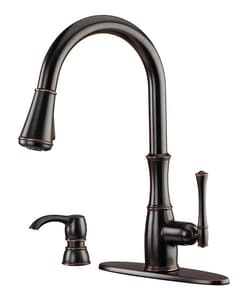 Pfister Wheaton™ 1.8 gpm Single Lever Handle Pull-Down Kitchen Faucet in Tuscan Bronze PGT529WHY