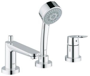 GROHE® BauLoop Single Lever Handle 3-Hole Roman Tub Faucet with Hand Shower in Starlight Polished Chrome G19592000