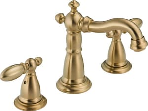 Delta Faucet Victorian® 3-Hole Widespread Lavatory Faucet with Double Lever Handle and 3-3/4 in. Spout Height in Brilliance Polished Brass D3555LFPB216PB
