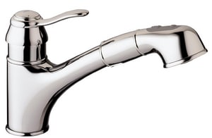 GROHE® Ashford 1.75 gpm Single Lever Handle Deckmount Kitchen Sink Faucet Pull-Out Spout Flexible Connection in Starlight Polished Chrome G32459000