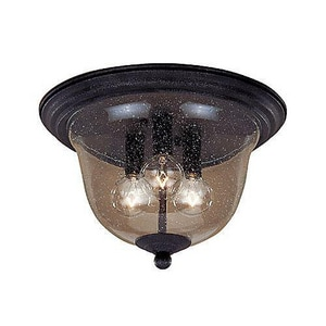 Seagull Lighting Manor House 25 W 3-Light Candelabra Flush Mount Ceiling Fixture in Weathered Iron S510207